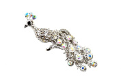 Crystal Diamante Silver Tone Peacock Bird Brooch Pin Fancy Party Gift Jewellery