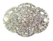 Silver Crystal Diamante Flower Wedding Bridal Bridesmaid Bride Brooch Pin for Women Jewellery