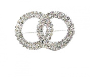 Crystal Silver Twin Round Brooch Pin Fancy Dress Party Gift Bridal Wedding Jewellery