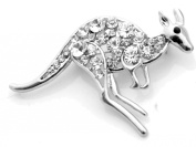 White Gold Plated Kangaroo Brooch with Crystals (Organza Gift Pouch Included).