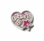 Purple FRIENDS Heart Floating Charm For Living Memory Lockets