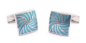 Demarkt French Style Printed Square Blue Mens Shirt Cufflinks Business Meeting Party Cuff Links