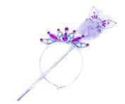 Girls Ladies 36cm Silver Butterfly Wand & Tiara Crown Dress Up Set Faux Fur In Purple