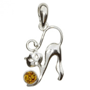 InCollections Women's Pendant 925 Sterling Silver Amber Cat 0010201404890