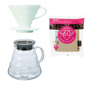 Hario V60 Series 800 ml Glass Kettle, Dripper with Measuring Spoon & 100 Paper Filters Sold Together