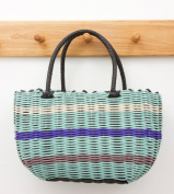 Retro Plastic Weave SHOPPING BASKET - 1940s and 50s Vintage Style - AQUA /PURPLE /MULBERRY /WHITE Shopping Bag