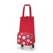 Reisenthel FoldableTrolley, Shopping Basket with Wheels, Shopping Trolley, foldable, Funky Dots 2 (Red), HK3048
