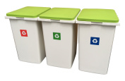 3 x 45 Litre Interlocking Waste / Recycle / Laundry Sorting Plastic Bins Recycling Boxes with Hinged Lids - 135 Litres of Storage!