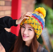 GH1486 new hat lady warm winter hat ear curling colourful wool cap outdoor sports wild Knitted Hats & Headbands Beanie hat, yellow Hats Sports & Outdoors Hats & Headwear Caps