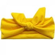 Girls Babys Cute Elastic Plain Rabbit Ear Bow Hair Band Headband Headdress