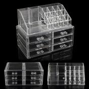 Makeup Case ACRYLIC Clear Cosmetic Organiser Display Box Jewellery box Acrylic Makeup storage 6 Drawers + Top Section