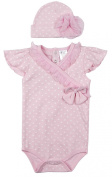 Baby Girl Pink Heart Bodysuit & Hat Set Outfit 0 - 12 Months Pink