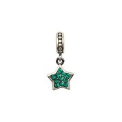 Everbling Star Dangle with Paved Emerald Austrian Crystal May Birthstone Authentic 925 Sterling Silver Bead Fits Pandora Chamilia Biagi Troll Charms Europen Style Bracelets