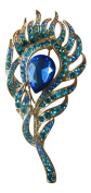 Brooch Boutique Elegant Gold and Blue Peacock Feather Brooch