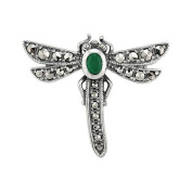 0.17ct Emerald & Marcasite 925 Sterling Silver Dragonfly Brooch