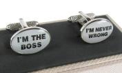 I'm The Boss I'm Never Wrong Cufflinks In Onyx Art Box