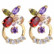 Yazilind Elegant 14K Gold Filled Flower Colourful Cubic Zirconia Hollow Design Stud Earrings
