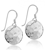 Tuscany Silver Hammered Round Drop Earrings