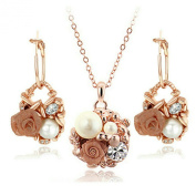 Yoursfs 18K Rose Gold Plated Flower Pot Earring and Necklace Use Austria Crystal Sets