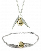 Chamber37 SILVER Retro Angel Wings with Faux Golden Pearl - Necklace & Bracelet/Anklet Set