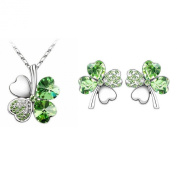 niceeshop(TM) Crystal Lucky Four Leaf Clover Stud Earrings and Pendant Necklaces