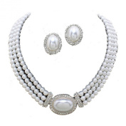 Three row white pearl necklace set with clip on earrings