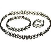 Live It Style It Black Tattoo Choker Stretch Necklace Bracelet Ring Full Set New Black Retro Henna Vintage Elastic Boho 80s 90s