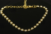 Sparkly golden clear diamante ankle chain