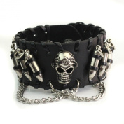 1x Metal Punk Gothic Bullets Skull Chain Black Leather Bracelet Men Jewellery Gift