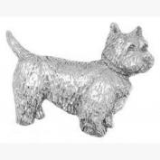 West Highland Terrier Westie Dog Pin Badge Brooch Gift, Supplied in Organza Bag