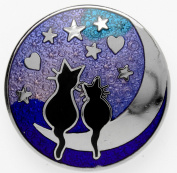 Silver Tone Blue Enamel Black Cats on the Moon Round Brooch