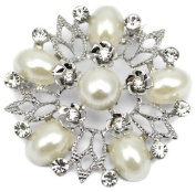 Elixir77UK Silver Colour Flower Wedding Bridal Pin Brooch With Plain Crystals and Faux Pearls
