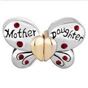 Pugster Separable Butterfly Mother Daughter Crystal Heart Love Mom Beads Fit Pandora Charms Bracelet