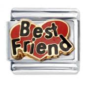 Best Friend Heart Enamel Italian Charm - fits Nomination Classic Bracelet - ()