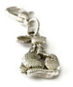 LOVELY SILVER EASTER BUNNY WITH EASTER EGG CLIP ON CHARM - SILVER ALLOY - FREE P & P