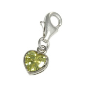 TheCharmWorks Sterling Silver Citrine Heart Crystal Clip on Charm