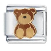 Brown Teddy Bear Enamel Italian Charm - fits Nomination Classic Bracelet - ()