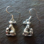 Easter bunny rabbit egg metal dangly earrings sterling silver hooks 1.8cm fun