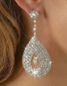 Bling Bling Diamante Earrings FAB Tear Drop Clear Crystal Dangle Earrings