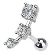 Gorgeous Clear Triple Crystal Upper ear cartilage tragus Helix earring