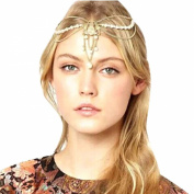 Atdoshop Fashion Women Metal Chain Jewellery Headband Head Hair Band Tassels Pearl