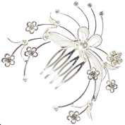 Vintage Floral Wired Trail Austrian Crystal Bridal Hair Comb Clip