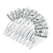 HA25830 Silver And Pearl Colour Crystal Hair Comb Wedding Party Prom Bride