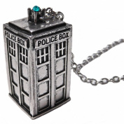 TV Inspired Doctor Tardis Silver Tone Pendant Necklace with Blue/Green Crystal Light. Whovian Fans