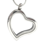 Truly Charming® Silver Heart Living Memory Locket Necklace For Floating Charms Gift