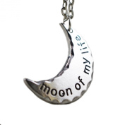 "TV Inspired GOT Daenery's Half Moon. ""Moon Of My Life"" Antique Silver Plated Pendant Necklace"