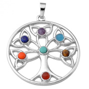 Jovivi 7 Chakra Stone Pendant Crystal Reiki Healing Balancing - The Growth Of Tree Style