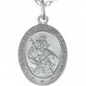 """Oval Sterling Silver St Christopher Pendant with 18"""" Chain - 28mm x 15mm"""