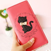 Enjoydeal Women Girls Bifold Leather Purse Dots Cartoon Cat Pattern Clutch Long Zipper Wallet Handbag