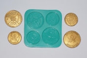 Pirate coins Sugarcraft Silicone Rubber Moulds Cake Decorating mould Resin sugarpaste flower paste